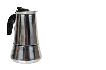 Metal geyser coffee pot isolated on white background, copy space template