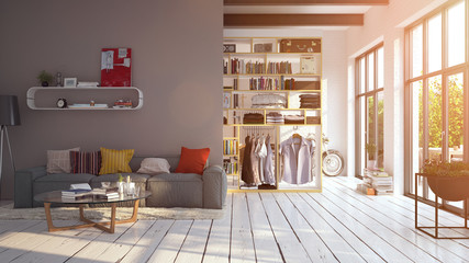 modern hipster apartment with flares in sunlight