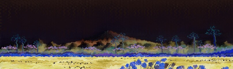 The volcano of Fujiyama, Japan. Night scenery is a starless night. Panorama of mountains, lake with trees on the shore and reeds in the foreground. Oil painting and digital technologies.