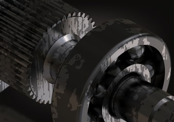 Silver and black bearing and cogwheel on a black