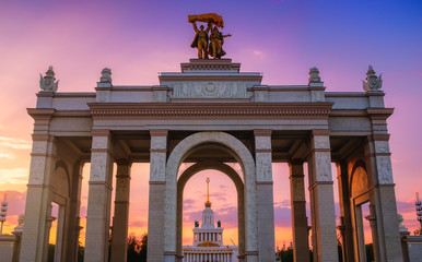VDNKh (VDNH) park in the sunset. Moscow, Russia