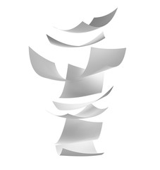 Blown Paper isolated on white background. Documents flying in air, 3d illustration