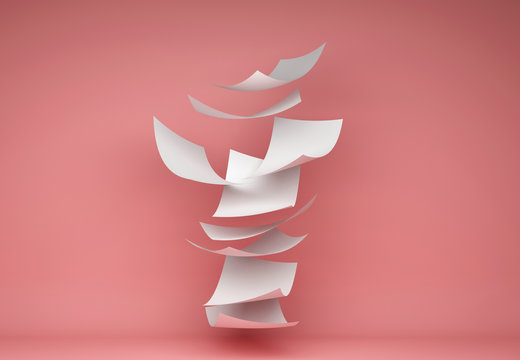 Blown Paper isolated on red background. Documents flying in air, 3d illustration