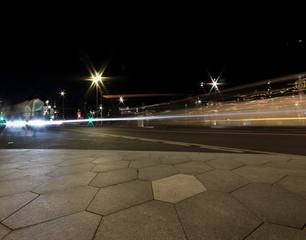 night city lights in motion