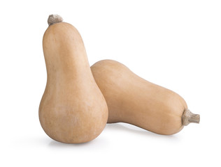 Fresh butternut squash isolated on a white