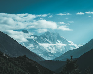 The view of Mt. Everest and Mt. Nuptse