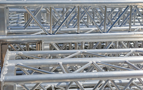 Stack of metal trusses for mounting the stage