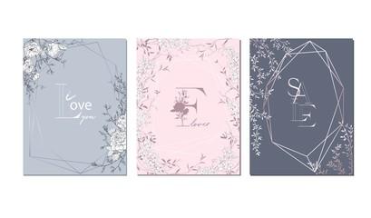 Wedding arrangement. Floral bouquet design. Botanical frame.