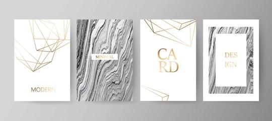 Set of modern elegant brochure, card, background, cover.Grey, black marble texture.