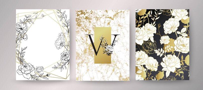 Floral frame design. Wedding invitation arrangement. Botanical composition.