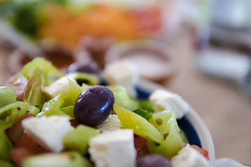 Vegetable salad with cheese and olive