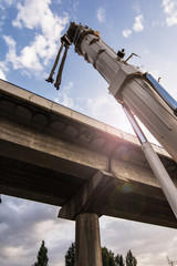 Construction of a bridge in the expansion works of the Valladolid - Segovia - Madrid highway in Spain