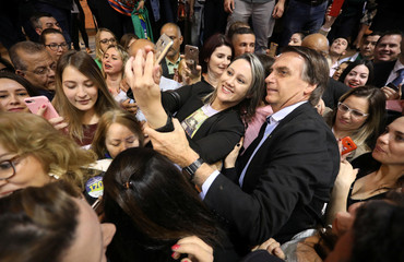 Presidential candidate Jair Bolsonaro attends a meeting with women in Porto Alegre