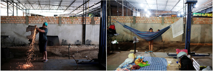 Combination shows (L-R) a Brazilian man working on a piece of a car, at the car repair shop near the interstate Bus Station in Boa Vista, Roraima state, Brazil August 24, 2018 and Venezuelan women  near their improvised beds in Boa Vista