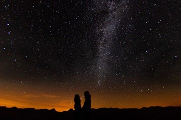 a couple in love under the Milky Way