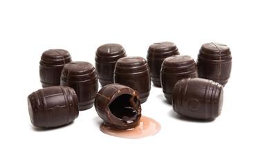 chocolate barrels with liquor