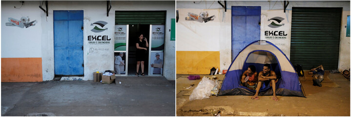 (L-R) Combination picture shows Venezuelan people sitting on their tent and sleep on cardboards during the night at the entrance of packages transport shop in Boa Vista and A Brazilian women working in the packages transport shop in Boa Vista