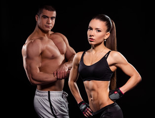 Fit girl and young bodybuilder.