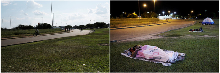 Combination picture shows (L-R) Brazilian people riding on their bicycles in front of interstate Bus Station in Boa Vista, Roraima state, Brazil August 24, 2018, and Venezuelan people sleeping on the grass in front of interstate Bus Station in Boa Vista