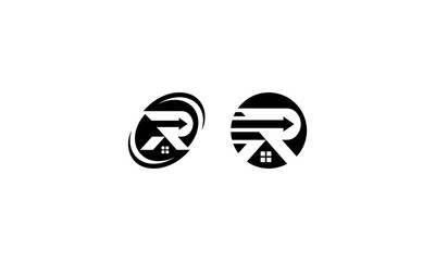 Initial R home logo icon vector