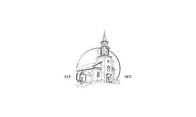 Christian Church Vintage Vector Icon Logo