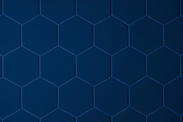 Abstract texture of tile hexagon pattern background dark blue color