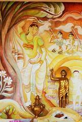 Buddhist wall paintings in Sri Lanka temple in Lumbini, Nepal