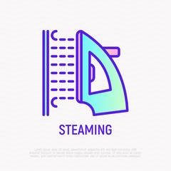 Steaming of clothing thin line icon. Modern vector illustration of laundry equipment.