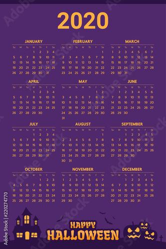 Halloween Calendar 2020 2020 Calendar with halloween theme   Vector
