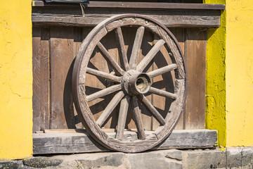 Wooden wheel from a prairie wagon
