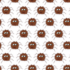 Cute spider seamless pattern. Vector isolated background.