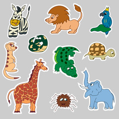 Africa animals stickers. Vector. Isolated.