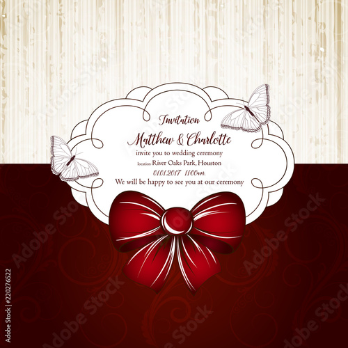 Cute Wedding Invitation With Floral Curls A Bow In Vintage