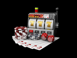 Slot machine with jackpot, Casino concept, 3d Illustration