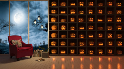 3d rendering image of interior design in halloween festival. a lot of Pumpkin heads on the wall which have big window view as background, Trick or thread.