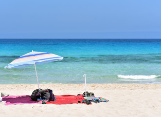 Sun umbrella in the Corralejo Beach, Fuerteventura Island, Canary Islands, Spain