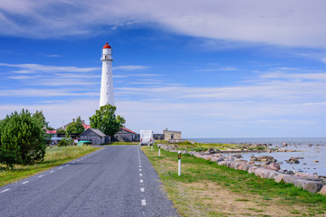 Fototapeten Leuchtturm Sightseeing of Hiiumaa island. Tahkuna lighthouse is a popular landmark and scenic location on the Baltic sea coast, Hiiumaa island, Estonia