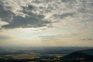 Czech landscape viewed from Jested hill near Liberec city at summer evening sunset 50 years after soviet occupation of Czechoslovakia 1968