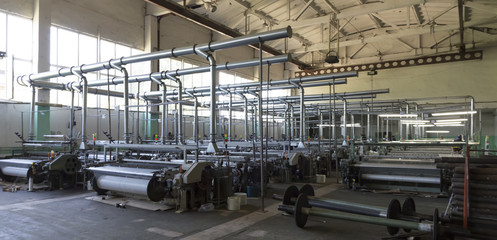 Polyethylene filament production at the plant, automated work of machine tools