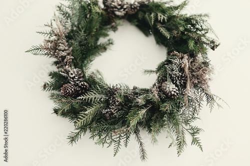 Modern Christmas Wreath Stylish Rustic With Pine Conesfir Branchessnow