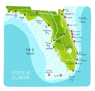 ImprimirHand Drawn map of the state of Florida with main cities and point of interest. Colorful sketch style
