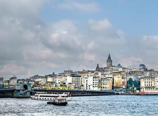 Galata Bridge with an old tower, Golden Horn, Beyoglu District, Istanbul, Turkey, Europe
