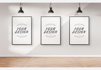 Three Black Frames Isolated on a Wall Mockup