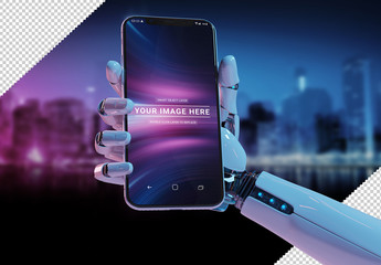 Smartphone in Robot Hand Isolated Mockup