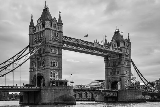 Tower Bridge in London, UK in monochrome. Black and white photography.