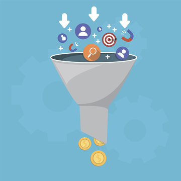Sales funnel and lead generation, monetization of sales process, purchase funnel, is the visual representation of the customer journey