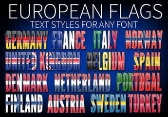 European Flags Text Styles