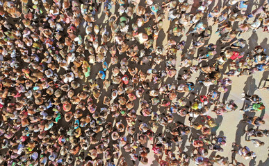 Aerial people crowd background