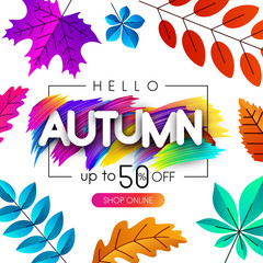 Autumn sale special offer. Promo poster with color leaves.