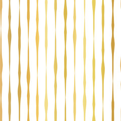Gold foil hand drawn vertical lines seamless vector pattern. White wavy irregular stripes on golden background. Elegant design for digital paper, banner, wedding, party, birthday, invite, gift wrap